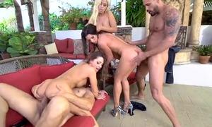 Nymphomaniac sluts fucking two handsome guys outdoors